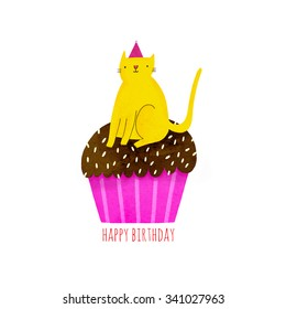 Happy Birthday illustration with cupcake and cat in funny hat. Cute yellow cat on top of a muffin. Awesome illustration in cartoon style and bright neon colors.
