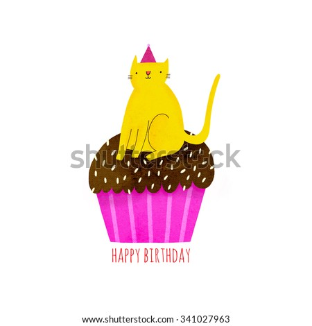 Happy Birthday Illustration With Cupcake And Cat In Funny Hat Cute Yellow On Top