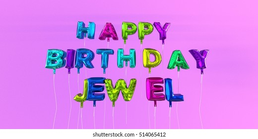 Happy Birthday Jewel card with balloon text - 3D rendered stock image. This image can be used for a eCard or a print postcard.