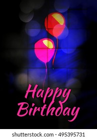 Happy Birthday layered illustration for party poster and card - abstract