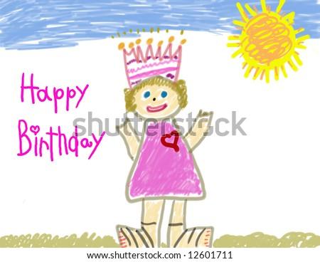 Happy Birthday Little Girls Drawing Stock Illustration 12601711