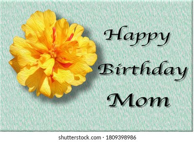 Happy birthday mom card. Birthday wishes card. Greeting background for mom's card. Mother birthday party.