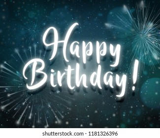 Happy birthday neon night light text party dark blue background