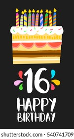 Happy birthday number 16, greeting card for sixteen years in fun art style with cake and candles. Anniversary invitation, congratulations or celebration design.