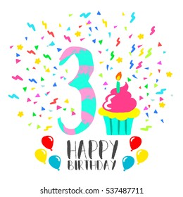 Happy Birthday Number 3 Greeting Card For Three Year In Fun Art Style With Party