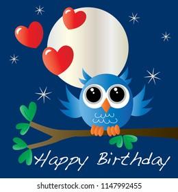 happy birthday owl sitting on a branch love