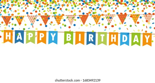 happy birthday party flags banner and confetti rain on white background illustration
