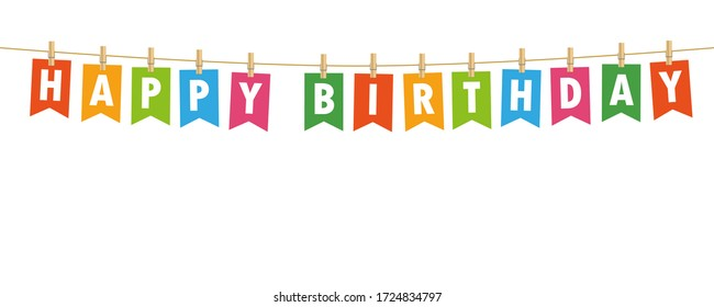 happy birthday party flags banner isolated on white background illustration
