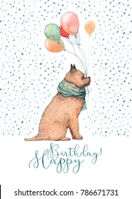 A Happy Birthday retro card painted in watercolor. Little dog with balloons in its mouth among the falling snow. Isolated on white background.