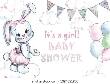 Happy Birthday watercolor baby shower cards with cute animals, toys, cars, blocks, balloons for kids, shirt design, nursery decor, party invitations, scrapbooking, packaging, posters
