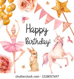 Happy birthday watercolor card design. Hand painted toys, unicorn, air balloons, flowers, garland on white background. Baby girl greeting illustration
