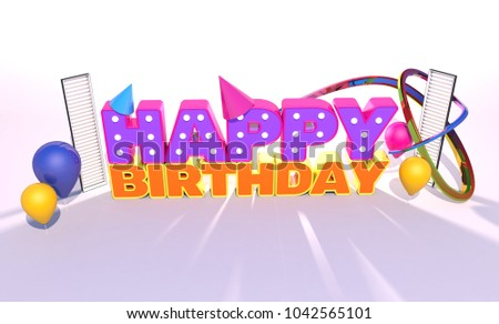 happy birthday words decorations isolated on stock illustration