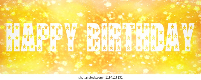 Happy Birthday written on golden background with yellow stars