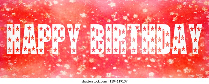 Happy Birthday written on red background with stars and glitter