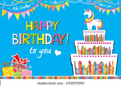 Happy Birthday to you! Greeting card. Celebration blue background with white unicorn, Birthday cake, colorful flags, gift box and place for your text. Horizontal card format for web banner or header.