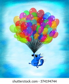 A happy blue cat flying  in the sky with a huge sheaf of balloons.