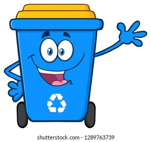 Happy Blue Recycle Bin Cartoon Mascot Character Waving For Greeting. Raster Illustration Isolated On White Background