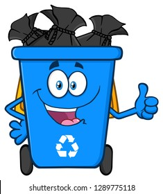 Happy Blue Recycle Bin Cartoon Mascot Character Full With Garbage Bags Giving A Thumb Up. Raster Illustration Isolated On White Background