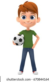 Happy boy with a football on a white background. 3d render illustration.