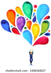 happy boy power mind colorful balloon color watercolor painting illustration hand drawn