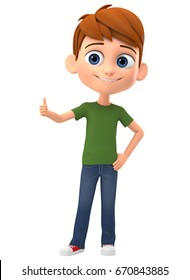 Happy boy showing thumbs up on white background. 3d render illustration.
