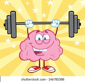 Happy Brain Cartoon Character Lifting Weights. Vector version also available in gallery
