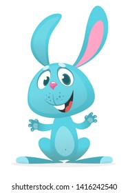 Happy bunny rabbit cartoon illustration on white background