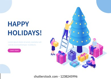 Happy business people decorate Christmas tree and prepare gift boxes together. Can use for web banner, infographics, hero images. Flat isometric illustration isolated on white background.