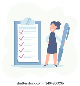 Happy businesswoman holding a pencil looking at completed checklist on clipboard. Business concept. illestration