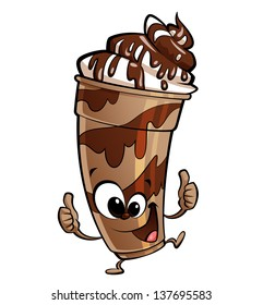 Happy cartoon anthropomorphic chocolate milkshake making a thumbs up gesture