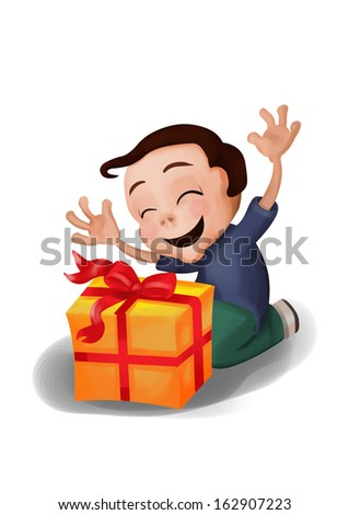 Happy Cartoon Boy A Kid Kneeling While Receiving Gift Probably For Christmas Or