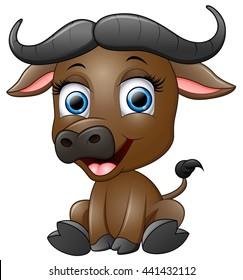 Happy cartoon buffalo