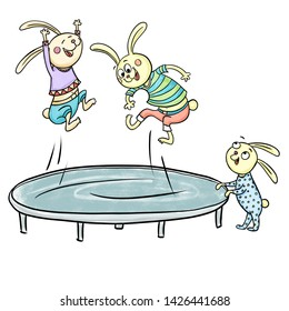Happy cartoon bunnies jumping on a trampoline. Summer kid's playground. Raster graphics. Isolated on a white background.