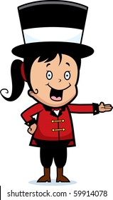 A happy cartoon child ringmaster smiling and presenting.