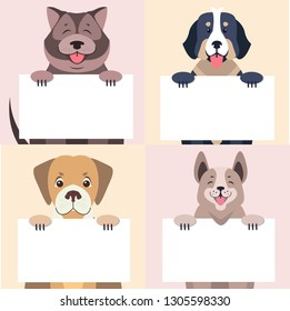 Happy cartoon dogs characters holding banners with sample text in pawns with message on white board concepts set. Lovely purebred pet raster illustration for shop or veterinary clinic ad