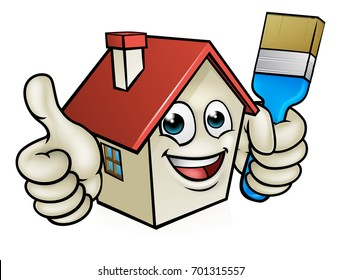 A happy cartoon house man mascot character holding paint brush and giving a thumbs up