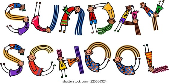 Happy cartoon little stick girls and boys forming the text title - Sunday School.
