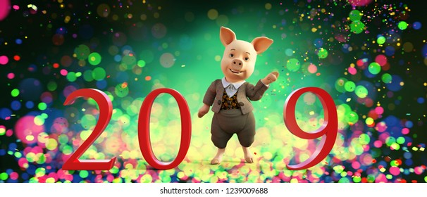Happy cartoon pig with 2019 letters for happy new year,as 2019 is the year of the pig,3d illustration
