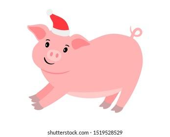 Happy cartoon pink pig in santa hat, illustration
