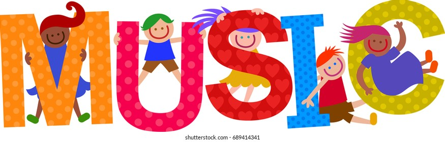 Happy cartoon smiling children climbing over letters of the alphabet that spell out the word MUSIC.