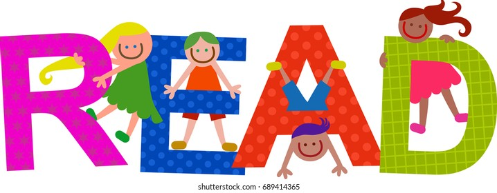 Happy cartoon smiling children climbing over letters of the alphabet that spell out the word READ.