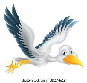 A happy cartoon stork bird animal character flying through the air
