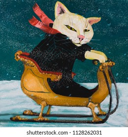 Happy cat in a sled. cozy winter scene, illustration, oil painting, art for kids.winter scene, illustration, oil painting, art for kids. Funny illustration hand drawn