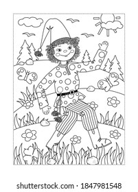 Happy cheerful handsome Petrushka rag doll walks outdoor coloring page