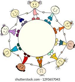 Happy children around a circle