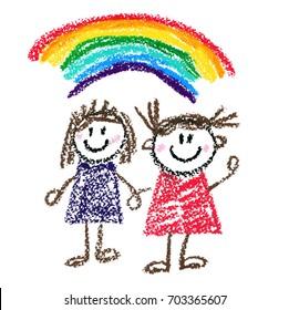 Happy children Kids drawing style Kindergarten