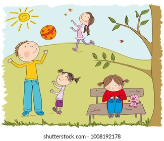 Happy children playing outside in the park, one girl is sad and alone, sitting on the bench under the tree - original hand drawn illustration