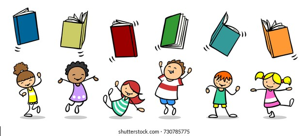 Happy children throw books in the air