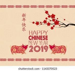 happy chinese new year 2019 year of the pig chinese characters mean happy new year