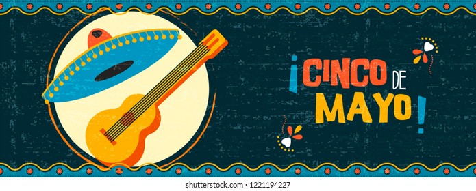 Happy Cinco de Mayo party illustration. Traditional mexican celebration web banner of mariachi guitar and hat on vintage background.